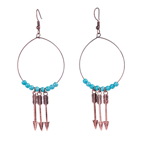 Burnished Copper with 3 Arrow and Turq Beaded Wire Teardrop Earring