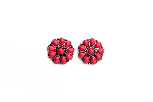 Burnished Silver and Red Flower Stud Earrings