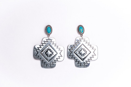 Large Burnished Silver Aztec Earrings with Turquoise Post