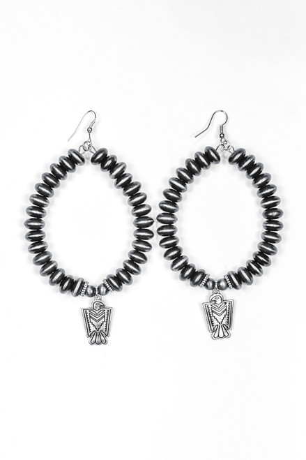 Faux Navajo Disc Pearl Teardrop Earrings with Thunderbird Accent