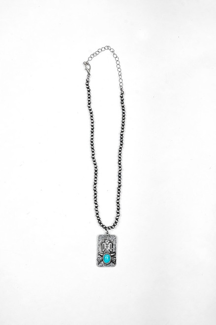 Dainty Faux Navajo Pearl Necklace with Thunderbird Pendant
