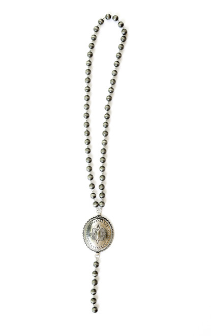 Faux Navajo Pearl Y Necklace with Large Concho