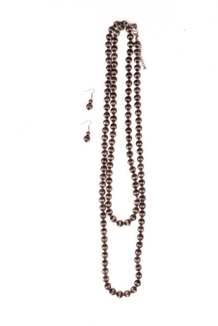 Silver Melon Bead Necklace