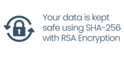 Your data is kept safe using SHA-256 with RSA Encryption