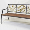 Fox Hunt Series Settee with Wood seat and Brass backs