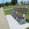 Concrete and Wood Surface Mounted Park Bench