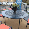 """Quick Ship - Filigree Design 60"""" Diameter Dining Table with 4 Post Legs"""
