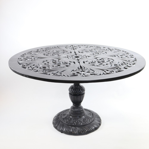 "Filigree Design 49"" Diameter Dining Table with Pedestal Leg"