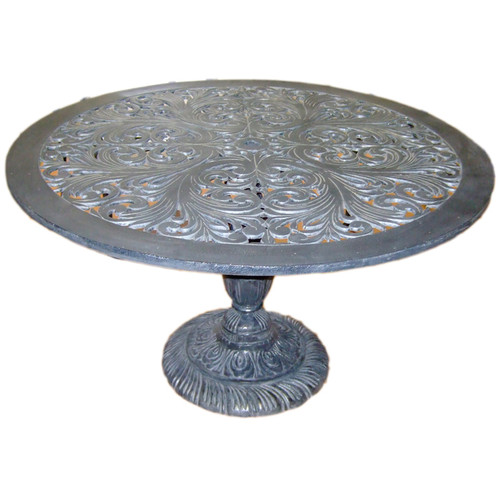"Filigree Design 60"" Diameter Dining Table with Pedestal Leg"