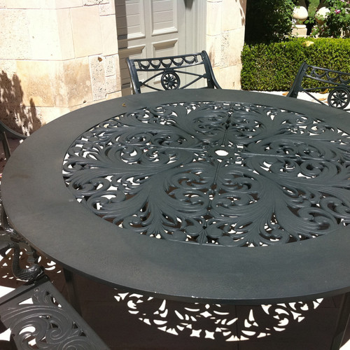 "Filigree Design 66"" Diameter Dining Table with 4 Post Legs"