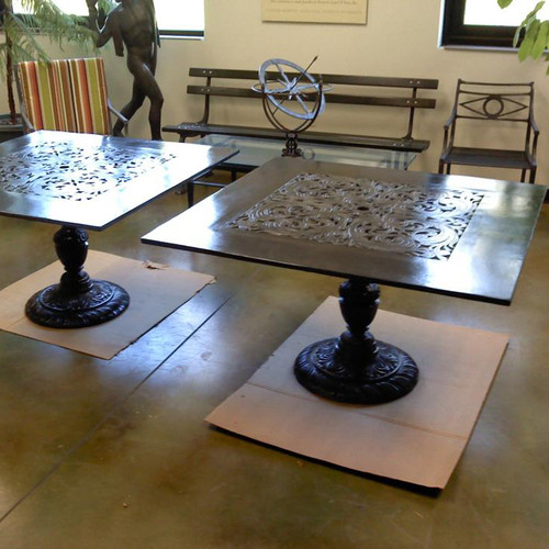 "Filigree Design 35"" Square Dining Table with Pedestal Leg"