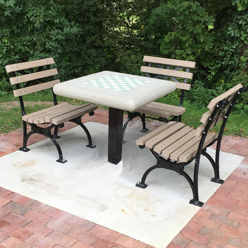 Concrete Chess Table with Square Steel Post Leg