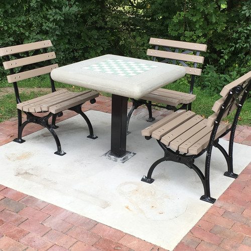 Concrete Chess Table with Square Steel Post leg, Surface Mount