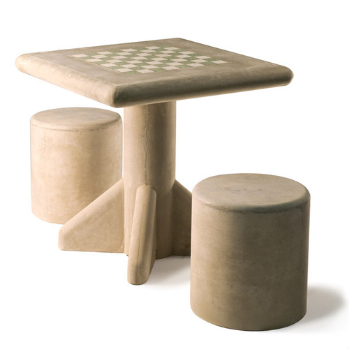 Concrete Freestanding Chess Table and Stool Set