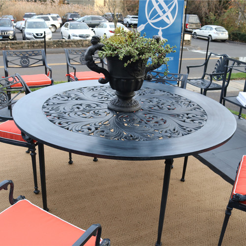 "Quick Ship - Filigree Design 60"" Diameter Dining Table with 4 Post Legs"