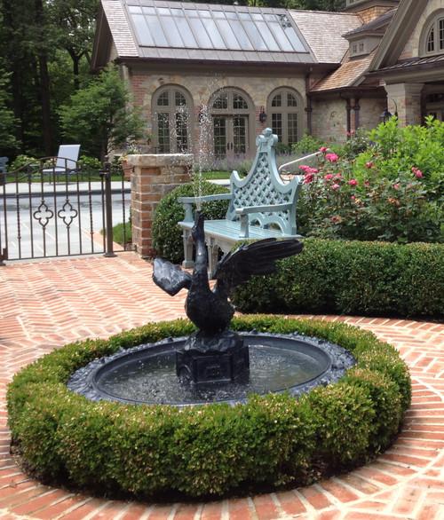 Goose Fountain, lead with aluminum basin