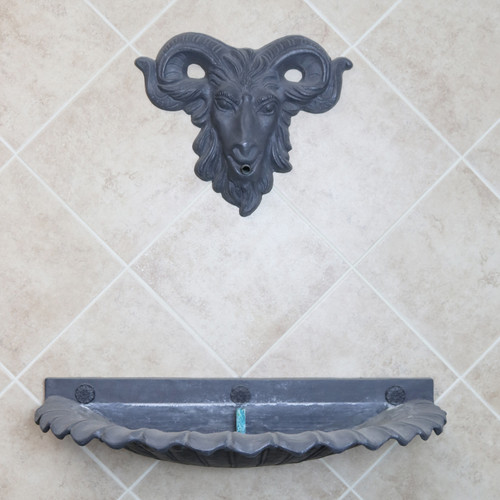 Quick Ship - Rams Mask and Lead Shell Wall Fountain