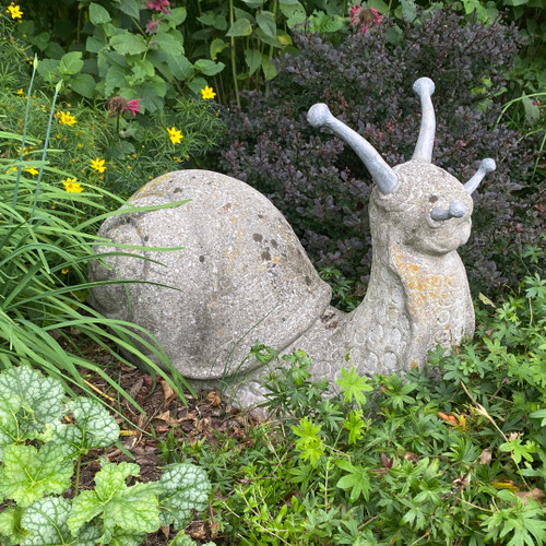 Cast stone Snail with Lead Horns