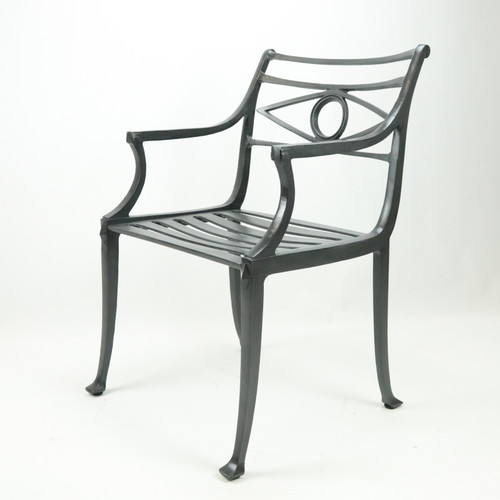 Neoclassical Arm Chair, cast seat