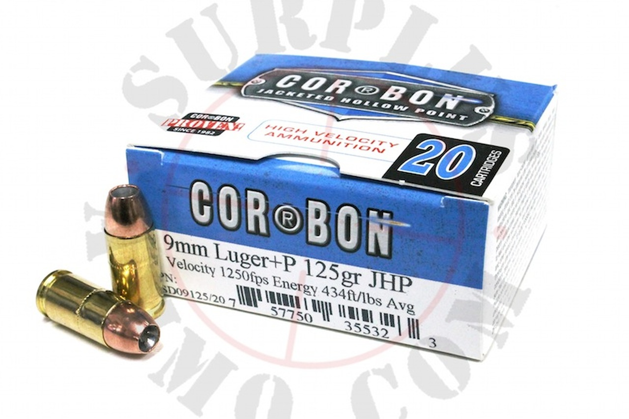 9mm 125 Grain JHP +P CORBON Self Defense - 20 Rounds