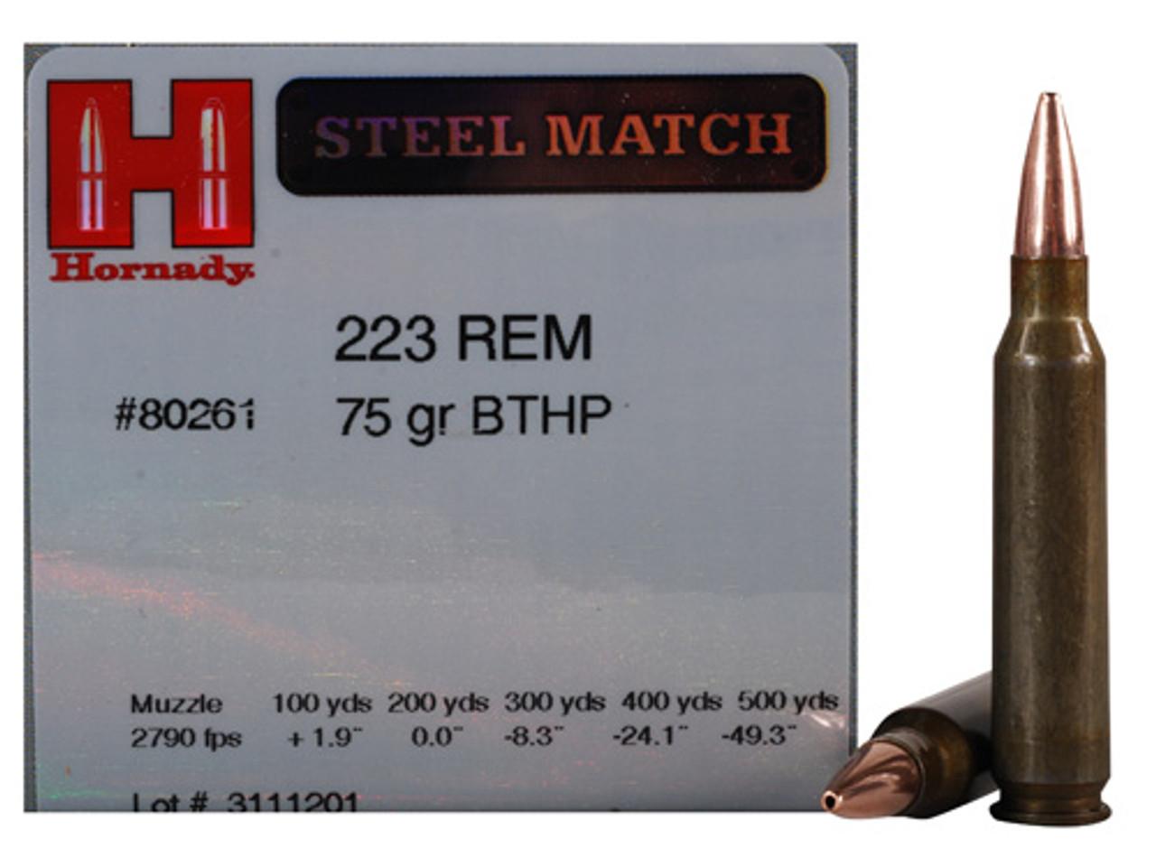 223 75 Grain BTHP Hornady Steel Match - 50 Rounds