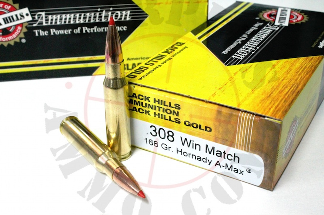 308 Win 168 Grain A-Max Black Hills Gold - 20 Rounds, NEW