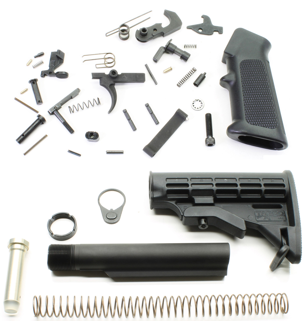 DPMS AR15 Lower Parts Kit + Commercial SAA AR15 Stock Assembly - Black