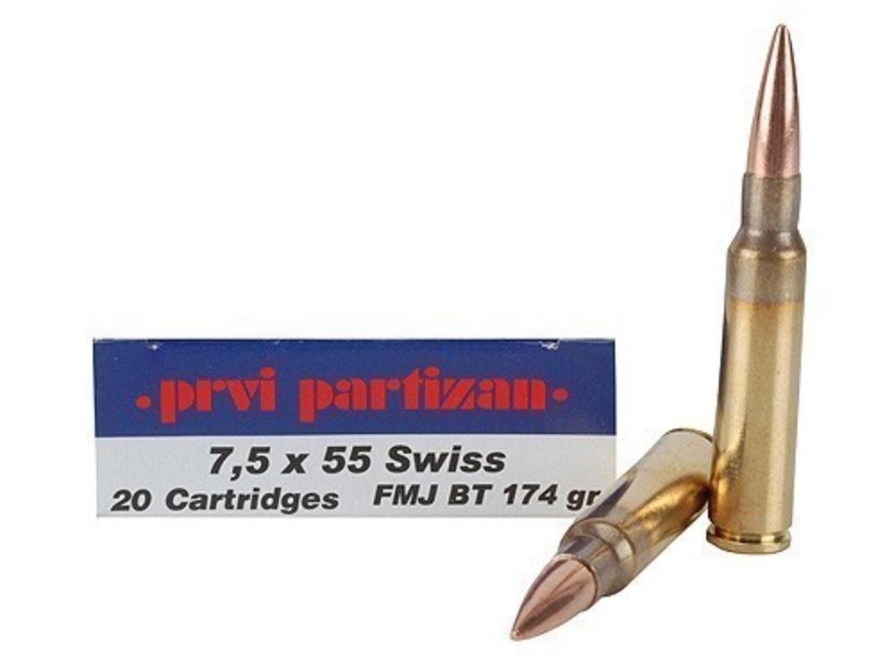 7 5x55 swiss 174 grain fmj bt prvi partizan ammunition in stock