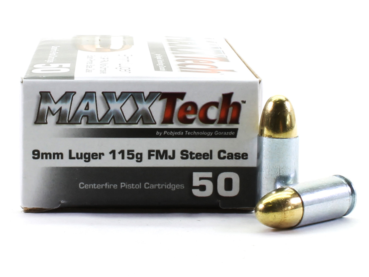 9mm 115 Grain FMJ MAXXTech STEEL-Cased - 50 Rounds