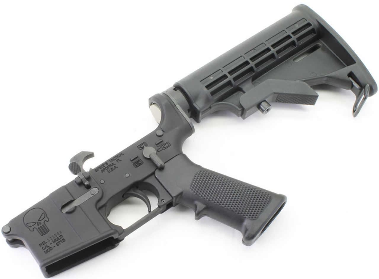 Spike's Tactical PUNISHER Logo AR15 Complete Lower with SAA LPK & Stock Kit
