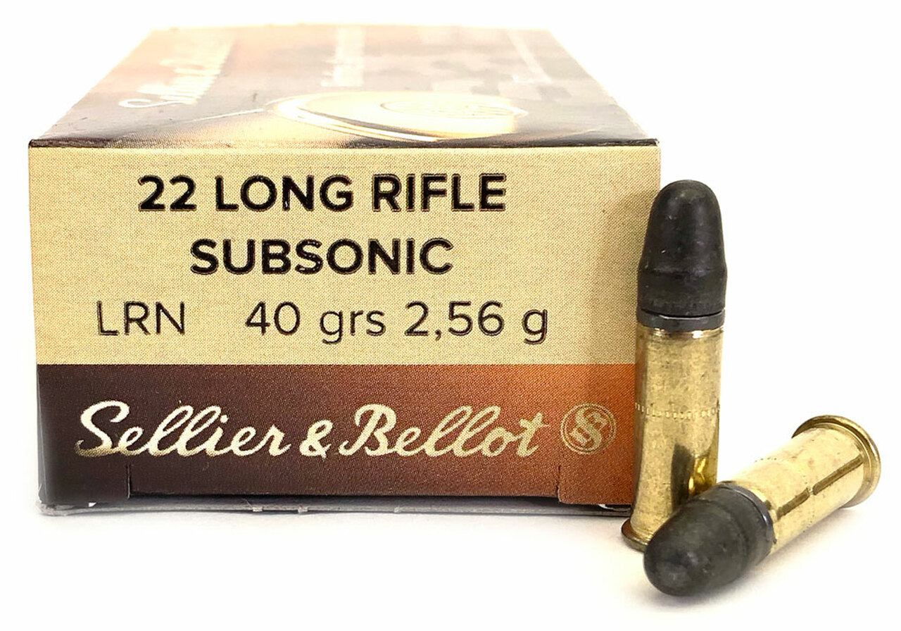 22 LR Sellier & Bellot 40 Grain LRN Subsonic - 50 Rounds