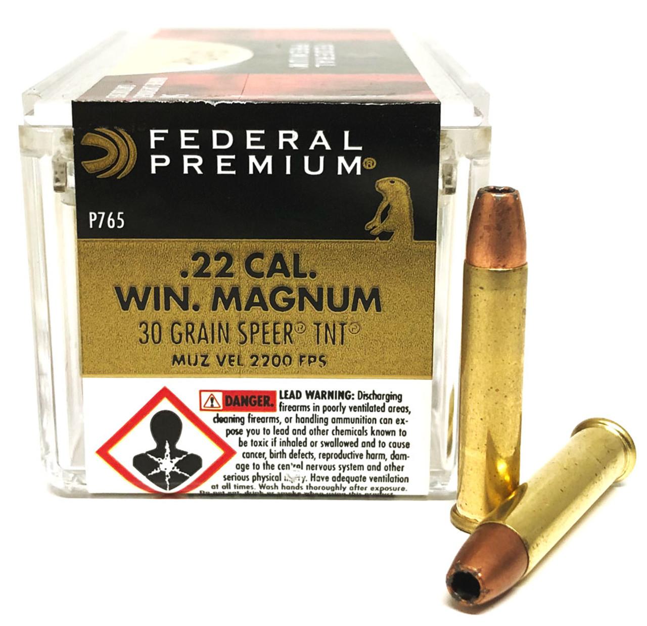 22 Magnum Federal 30 Grain TNT Hollow Point V-Shok P765 - 50 Rounds