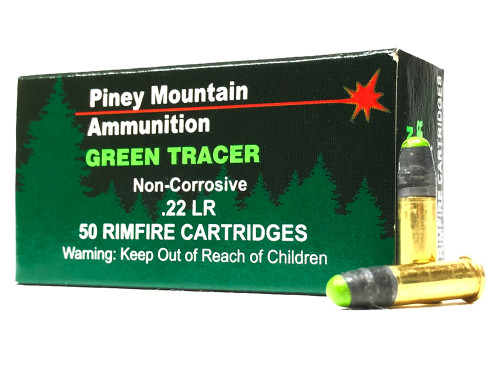22 LR Piney Mountain GREEN Tracer Ammo - 50 Rounds PMTRCRGR