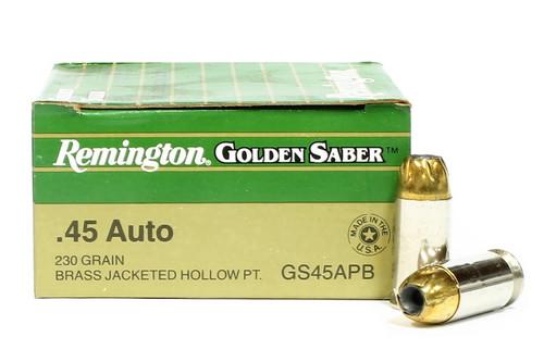 Surplus Ammo | Surplusammo.com 45 ACP 230 Grain JHP Remington Golden Saber Ammunition