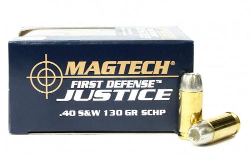 Surplus Ammo | Surplusammo.com 40 S&W 130 Grain SCHP Lead Free Magtech First Defense Justice Ammunition