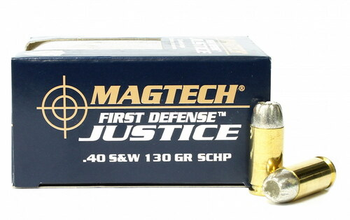 Surplus Ammo   Surplusammo.com 40 S&W 130 Grain SCHP Lead Free Magtech First Defense Justice Ammunition