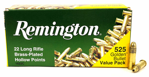 22 LR Remington Golden Bullet 36 Grain High Velocity Hollow Point Value Pack Ammo - 525 Round Brick RM21250/1622C