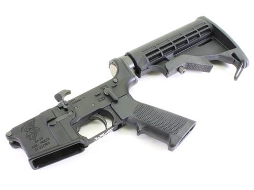 "Surplusammo.com | Surplus Ammo SA-15 ""Grim Reaper"" AR15 Complete Lower with Collapsing Stock SAA-SA15GR-CS"