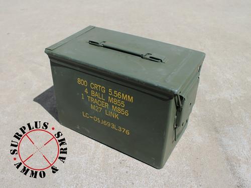 "Ammo Can .50 Caliber Fat Grade ""A"" Military Surplus, Lockable, Steel"