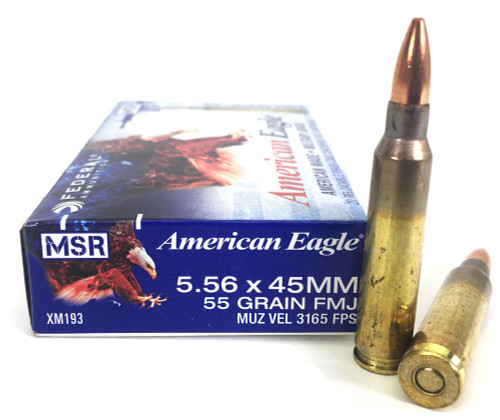 5.56 55 Grain FMJ-BT XM193 Federal Lake City FDXM193-20-556MM