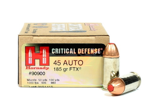Surplus Ammo | Surplusammo.com 45 ACP 185 Grain FTX Hornady Critical Defense Ammunition