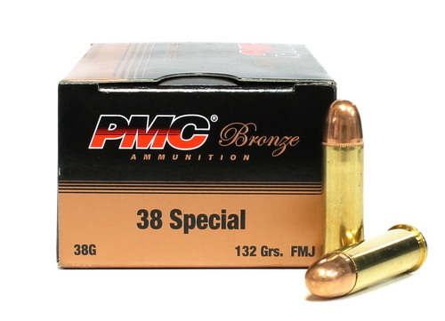 38 Special 132 Grain FMJ PMC Bronze - 50 Rounds PC38G