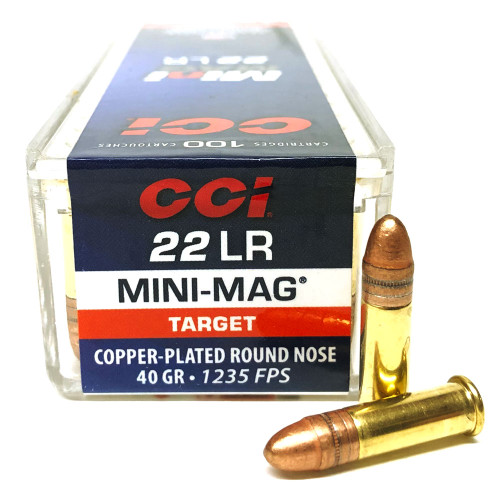 22 LR CCI Mini-Mag 40 Grain Copper Plated Round Nose Ammo - 100 Rounds CC0030