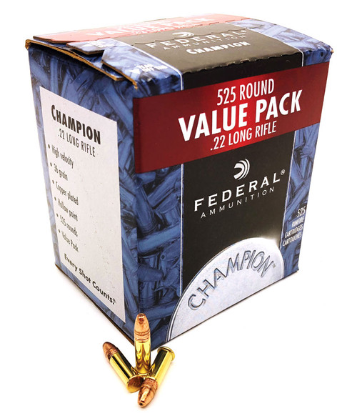 22 LR Federal Champion 36 Grain Copper Plated Hollow Point - 525 Round Value Pack FD745