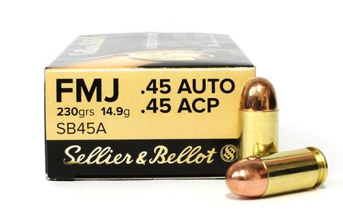 45 ACP 230 Grain FMJ Sellier & Bellot Ammunition SB45A