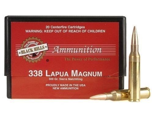 .338 Lapua 300 Grain Sierra MatchKing HP-BT Black Hills - 20 Rounds, NEW