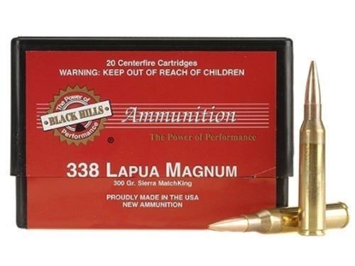 338 Lapua 300 Grain Sierra MatchKing HP-BT Black Hills - 20 Rounds, NEW