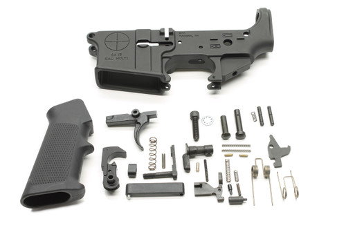 Surplusammo.com SAA SA-15 Reticle Logo AR15 Stripped Lower Receiver + Lower Parts Kit - Unassembled