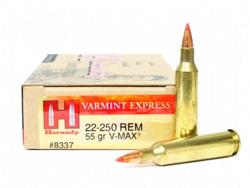 Surplus Ammo, Surplusammo.com .22-250 Rem 55 Grain V-Max Hornady Varmint Express Ammunition