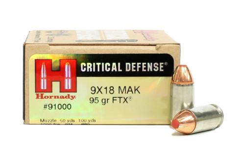 Surplus Ammo | Surplusammo.com 9x18mm Makarov 95 Grain FTX Hornady Critical Defense Ammunition